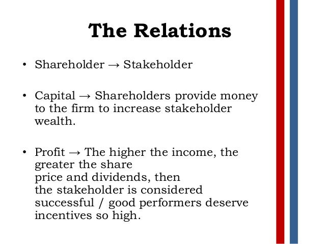 shareholders and stakeholders presentation Mgt 360 shareholders and stakeholders presentation  shareholder and stakeholder over the last decade, with the rapid development of business management, the shareholders who are the effective owners of the company invest money into the business and want as much profit as possible as a return for their investment.