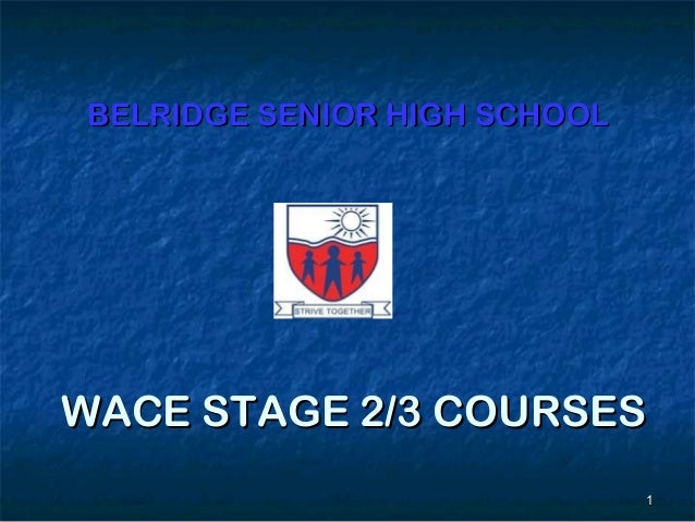 BELRIDGE SENIOR HIGH SCHOOLWACE STAGE 2/3 COURSES                              1