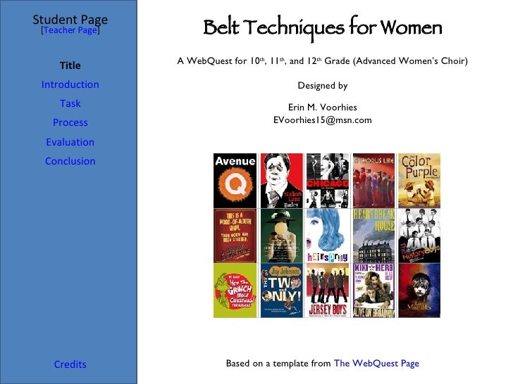 Belt Techniques for Women Student Page Title Introduction Task Process Evaluation Conclusion Credits [ Teacher Page ] A We...