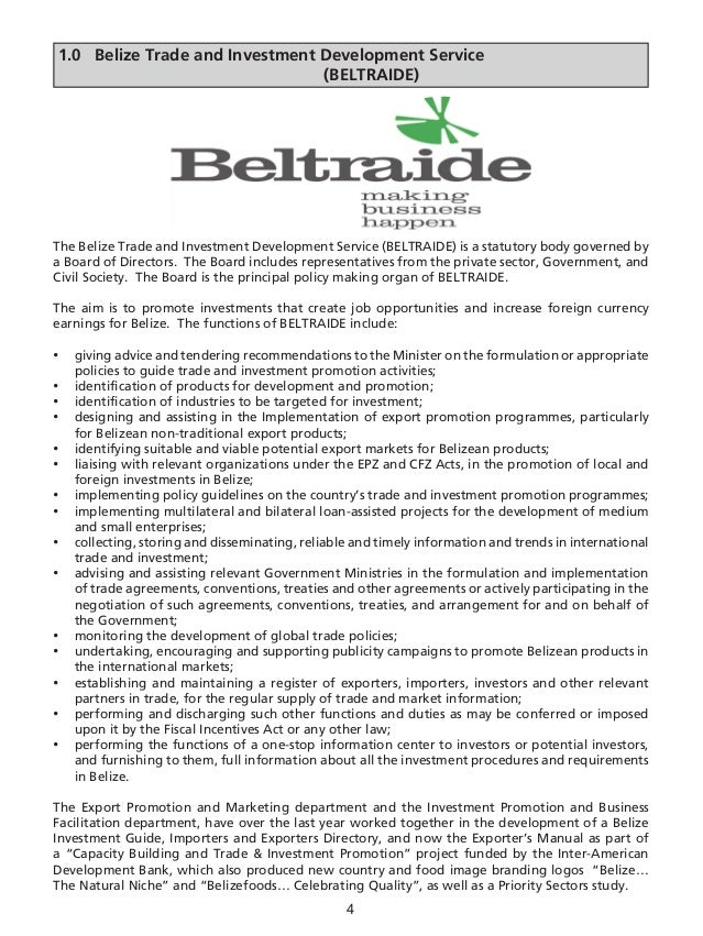 BELTRAIDE - Belize Exporter's Manual 2007