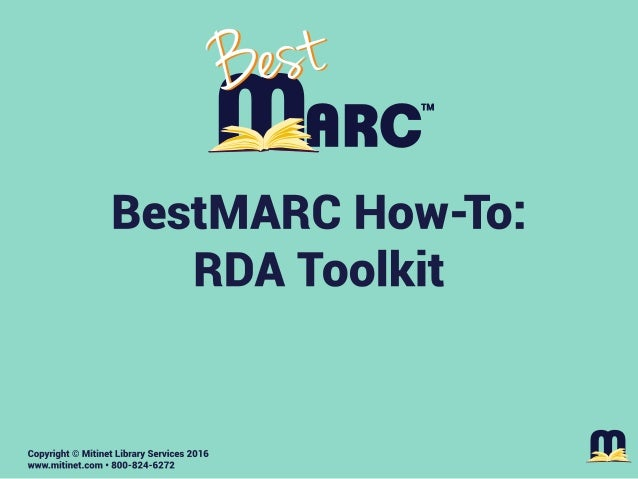 Mitinet BestMARC How-To: RDA Toolkit