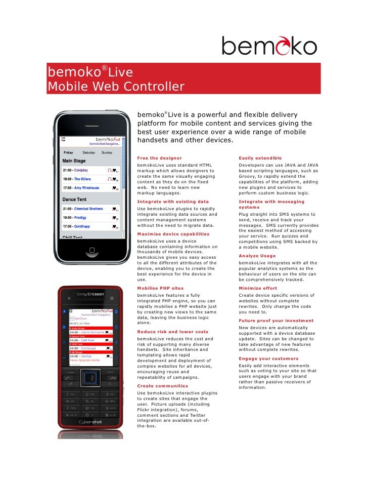 bemoko®Live Mobile Web Controller                bemoko®Live is a powerful and flexible delivery               platform fo...
