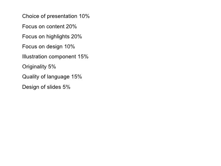 Choice of presentation  10% Focus on content  20% Focus on highlights  20% Focus on design  10% Illustration component  15...