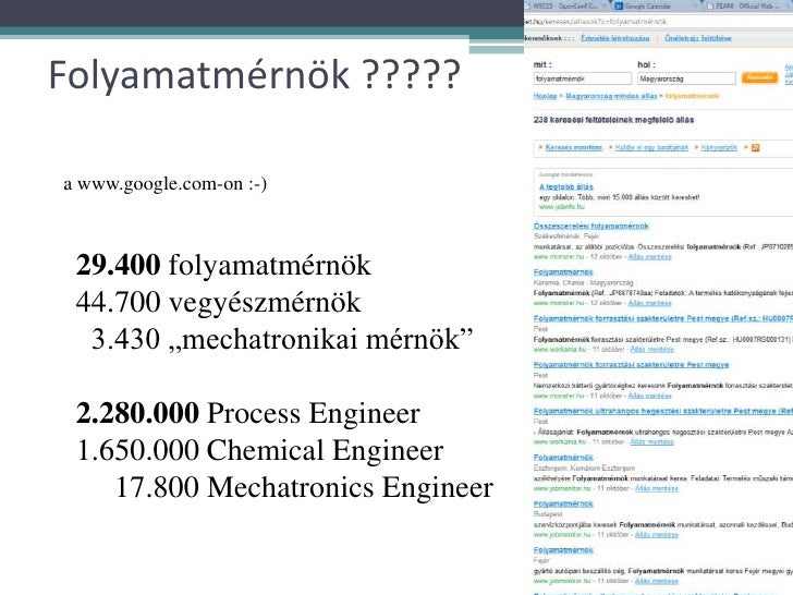 "29.400 folyamatmérnök <br />44.700 vegyészmérnök<br />  3.430 ""mechatronikai mérnök""<br />2.280.000 Process Engineer<br />..."