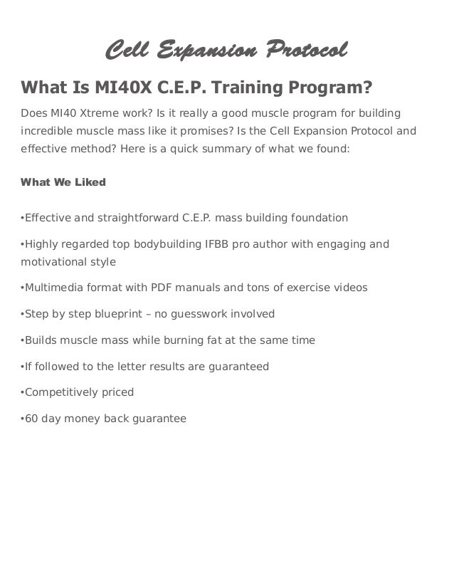 Cell Expansion Protocol What Is MI40X C.E.P. Training Program? Does MI40  Xtreme Work?