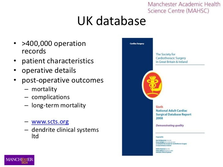 UK database<br />>400,000 operation records<br />patient characteristics<br />operative details<br />post-operative outcom...