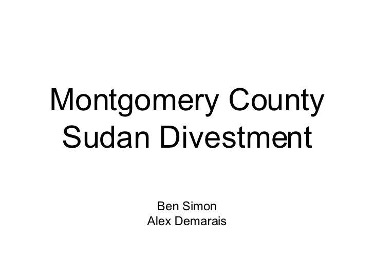 Montgomery County Sudan Divestment Ben Simon Alex Demarais