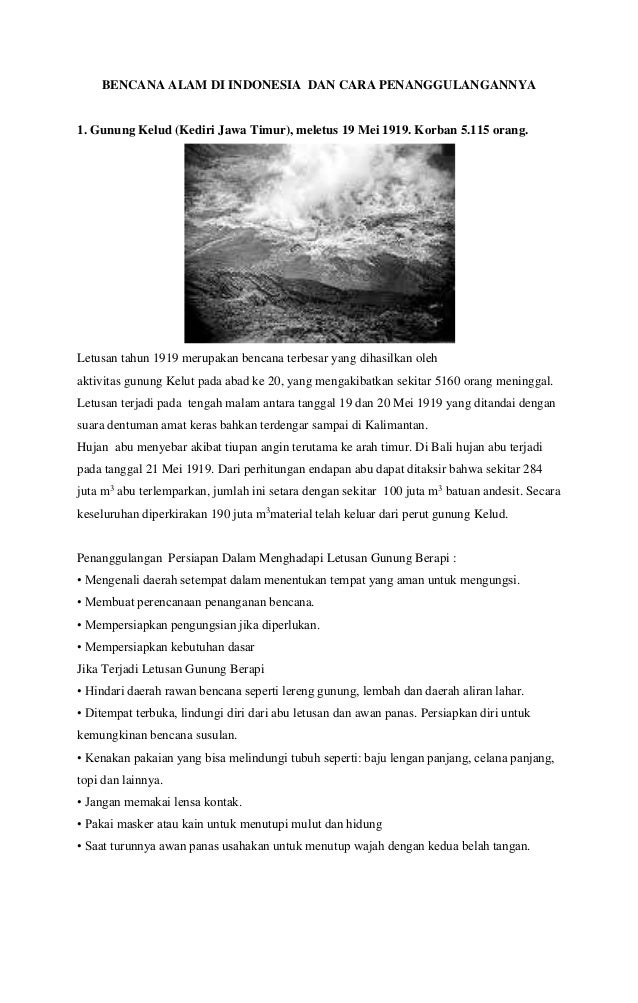 Bencana alam di indonesia dan cara penanggulangannya