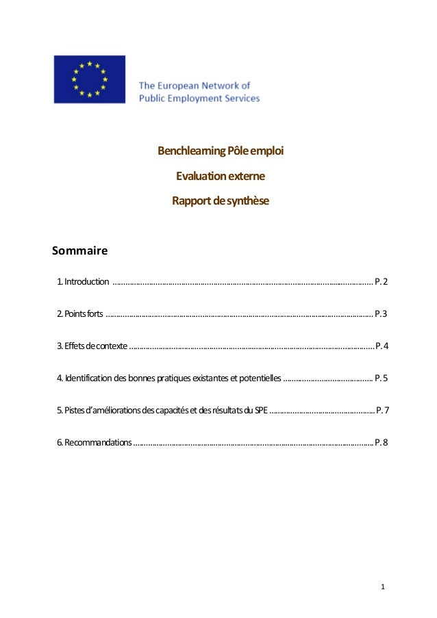 1      Benchlearning Pôle emploi     Evaluation externe    Rapport de synthèse          Sommaire      1. Introduction  …...