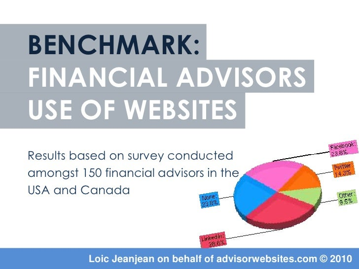 BENCHMARK:financial ADVISORSUSE OF WEBSITES<br />Results based on survey conducted <br />amongst 150 financial advisors in...