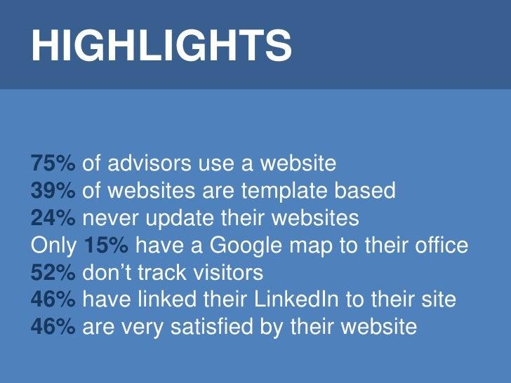 Benchmark: financial advisors use of websites Slide 2