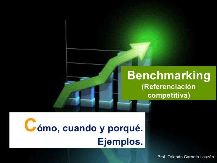 C ómo, cuando y porqué. Ejemplos. Benchmarking  (Referenciación competitiva) Prof. Orlando Carnota Lauzán