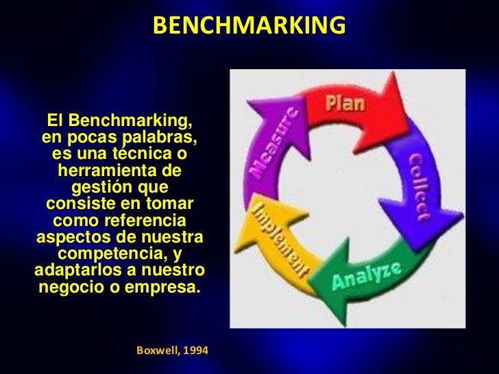 BENCHMARKING  El Benchmarking, en pocas palabras,  es una técnica o    herramienta de     gestión que consiste en tomar   ...