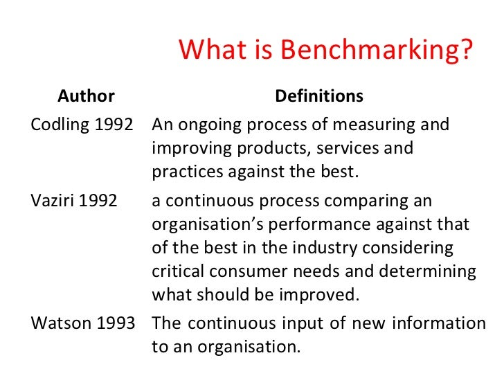 what is bench marking
