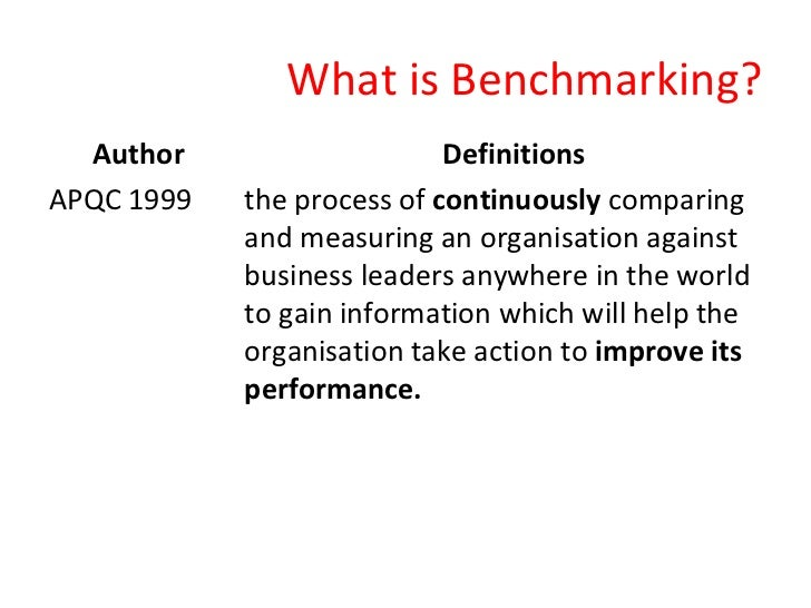 discuss the concept of benchmarking