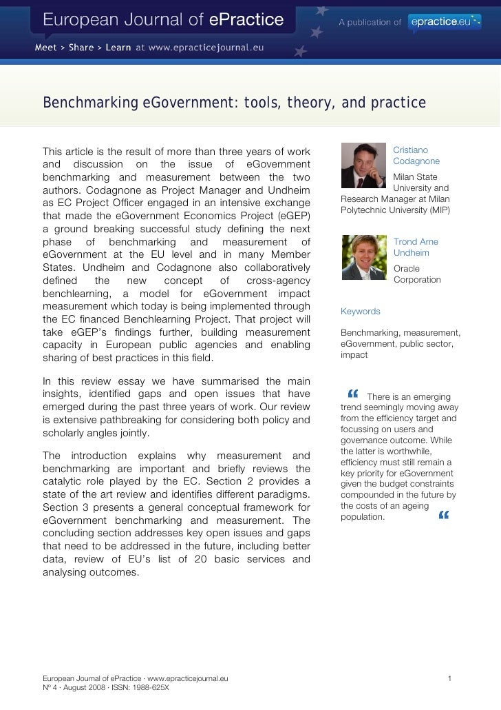 Benchmarking eGovernment: tools, theory, and practice   This article is the result of more than three years of work       ...