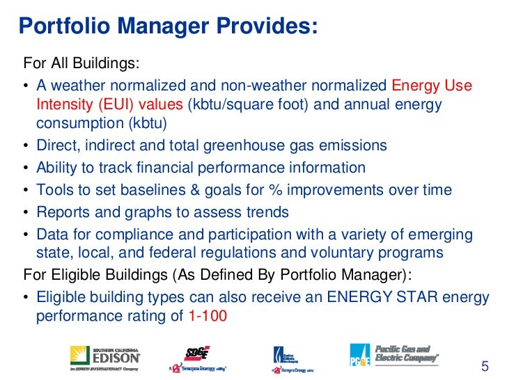 Energy star s portfolio manager tool and benchmarking in 5 star energy