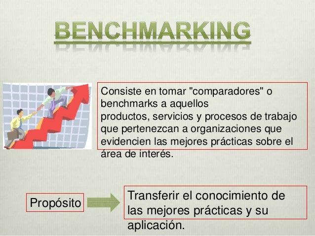  Encontrar y comprender las prácticas que les  ayudarán a alcanzar nuevos estándares. Detectar los mejores procesos prod...