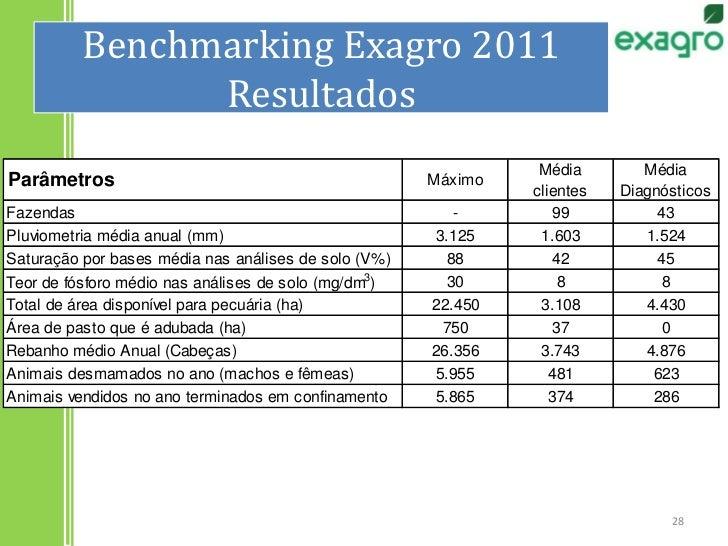 Benchmarking Exagro 2011Resultados<br />28<br />
