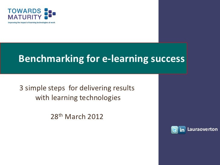 Benchmarking for e-learning success3 simple steps for delivering results     with learning technologies         28th March...