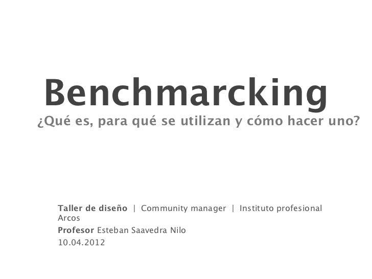 Benchmarcking¿Qué es, para qué se utilizan y cómo hacer uno?  Taller de diseño | Community manager | Instituto profesional...