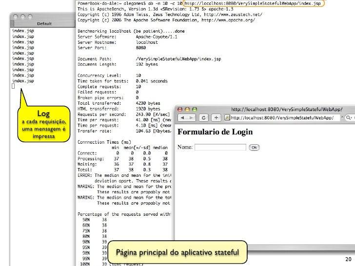 Log a cada requisição, uma mensagem é     impressa                          Página principal do aplicativo stateful       ...