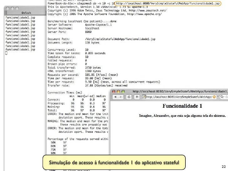 Simulação de acesso à funcionalidade 1 do aplicativo stateful                                                             ...