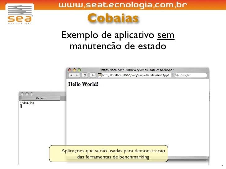 Cobaias Exemplo de aplicativo sem   manutencão de estado     Aplicações que serão usadas para demonstração        das ferr...