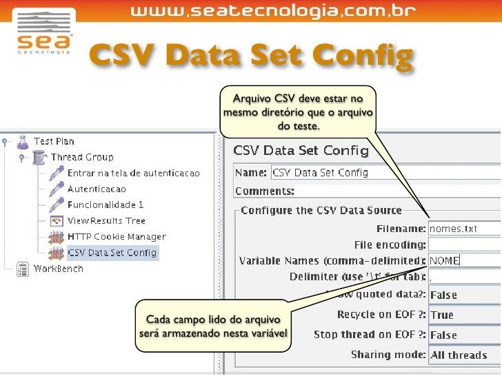 CSV Data Set Config                     Arquivo CSV deve estar no                    mesmo diretório que o arquivo         ...