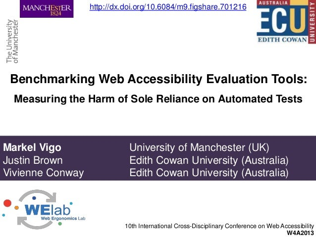 Benchmarking Web Accessibility Evaluation Tools:10th International Cross-Disciplinary Conference on Web AccessibilityW4A20...