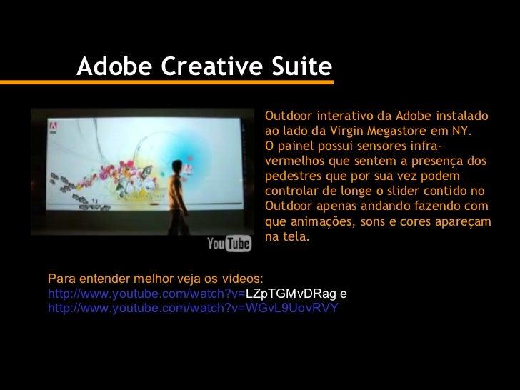 Adobe Creative Suite Outdoor interativo da Adobe instalado ao lado da Virgin Megastore em NY.  O painel possui sensores in...