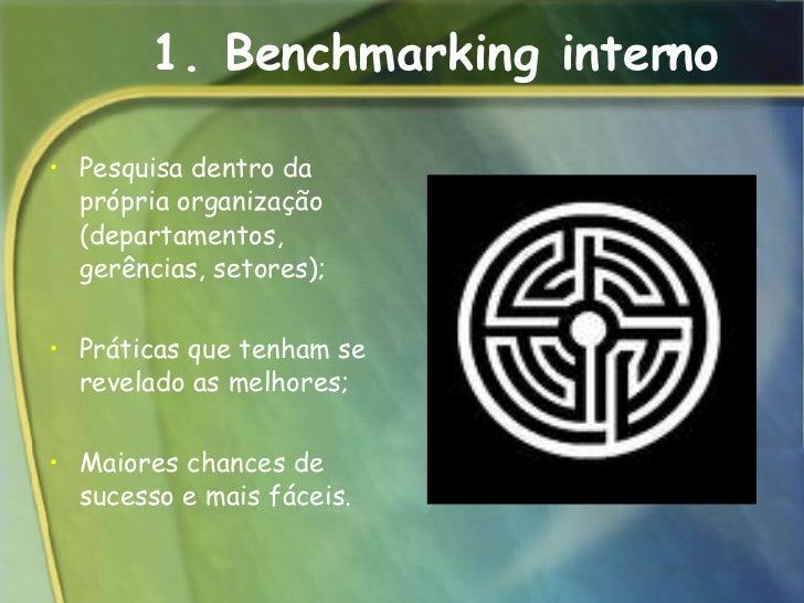 1. Benchmarking interno <ul><li>Pesquisa dentro da própria organização (departamentos, gerências, setores);  </li></ul><ul...