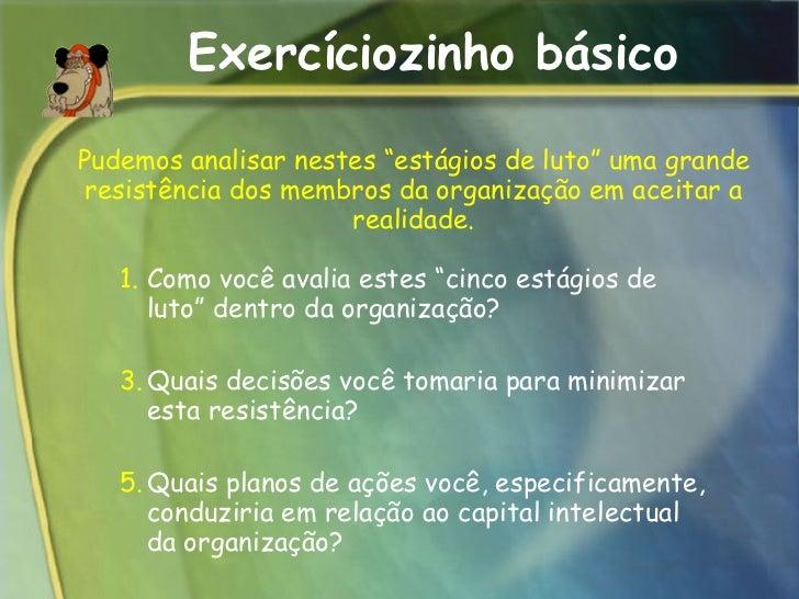 """Exercíciozinho básico <ul><ul><li>Como você avalia estes """"cinco estágios de luto"""" dentro da organização?  </li></ul></ul><..."""