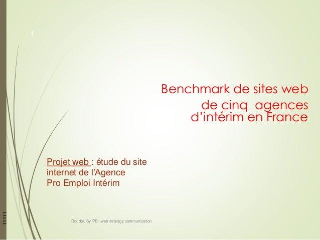 Benchmark de sites web de cinq agences d'intérim en France 11111 Projet web : étude du site internet de l'Agence Pro Emplo...