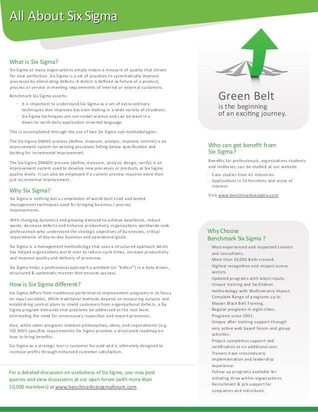 Benchmark Six Sigma Green Belt Brochure