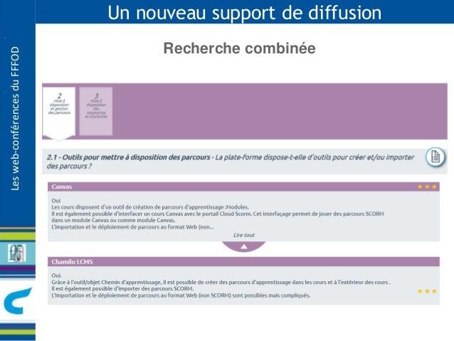 Les web-conférences du FFFOD  Un nouveau support de diffusion  Recherche combinée