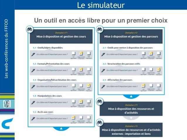 Les web-conférences du FFFOD  Le simulateur  Un outil en accès libre pour un premier choix
