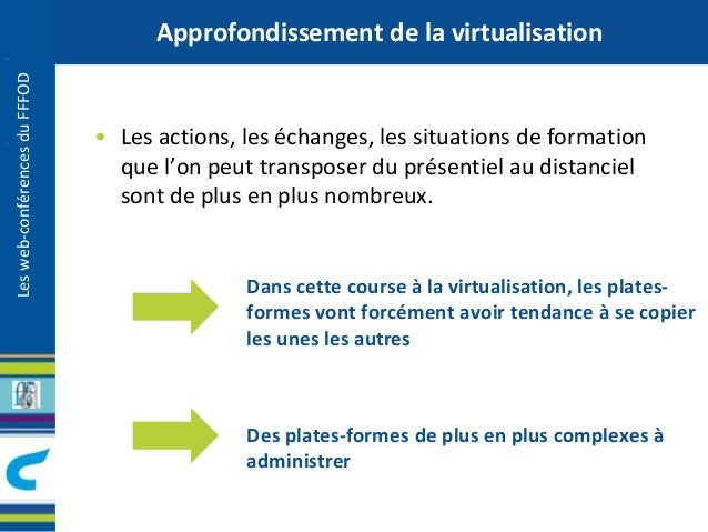 Les web-conférences du FFFOD  Approfondissement de la virtualisation  • Les actions, les échanges, les situations de forma...