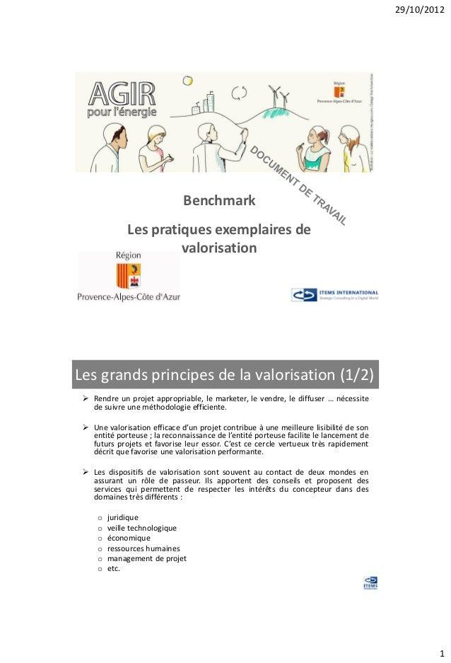 29/10/2012                              Benchmark              Les pratiques exemplaires de                       valorisa...