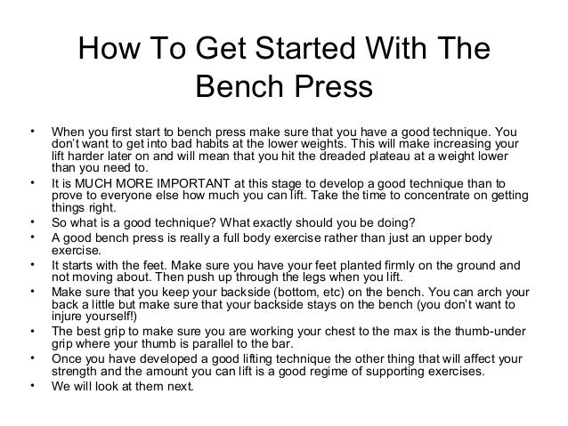Bench Press Workout Routine Beginners