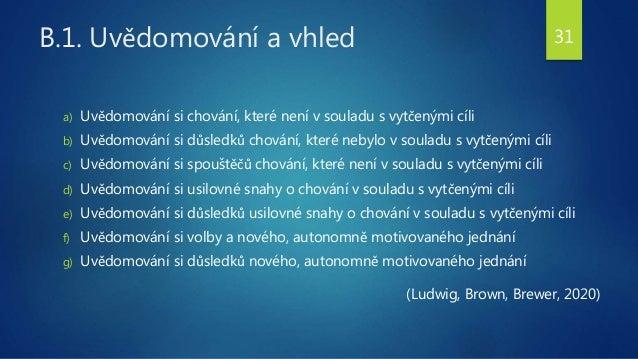 B.1. Uvědomování a vhled a) Uvědomování si chování, které není v souladu s vytčenými cíli b) Uvědomování si důsledků chová...