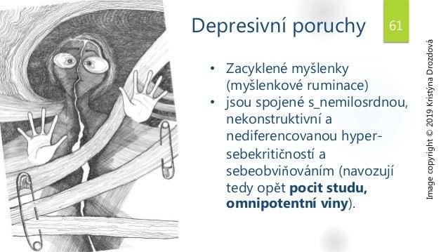 Depresivní poruchy Image copyright © 2019 Kristýna Drozdová • Zacyklené myšlenky (myšlenkové ruminace) • jsou spojené s_ne...