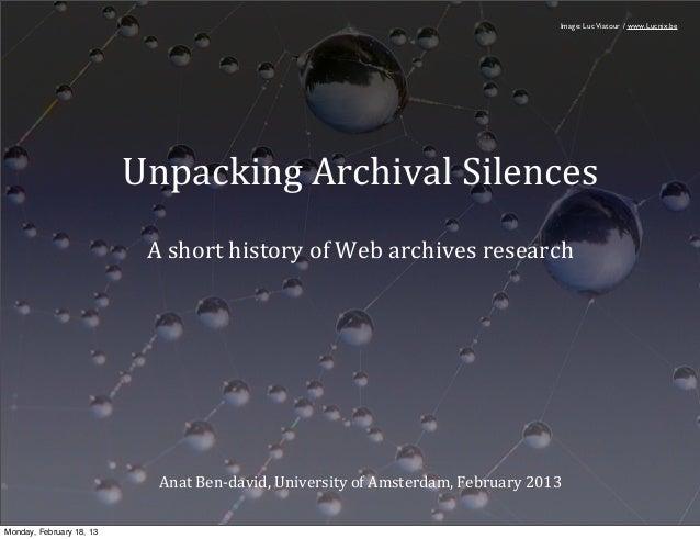 Image: Luc Viatour / www.Lucnix.be                          Unpacking Archival Silences                           A ...