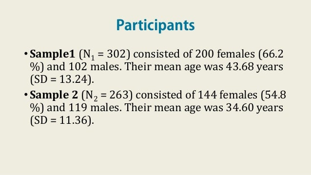 Participants •Sample1 (N1 = 302) consisted of 200 females (66.2 %) and 102 males. Their mean age was 43.68 years (SD = 13....