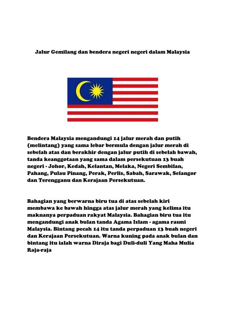 Bendera Malaysia Mengandungi 14 Jalur Merah Dan Putih