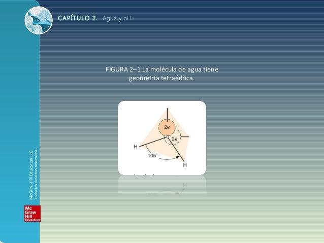 CAPÍTULO 2. Agua y pH FIGURA 2–1 La molécula de agua tiene geometría tetraédrica. McGraw-HillEducationLLC Todoslosderechos...