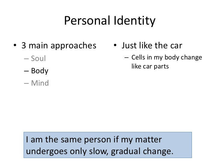 theories of personal identity body and soul Vasilios apostolopoulos 12/10/2009 phil 110/kelly theories of personal identity and that the soul has no physical connection to the body.
