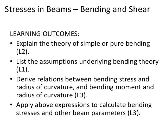 relationship between bending moment and radius curvature rectangular 1 is the radius of curvature ρ  hooke's law, the curvature is: m is the bending moment and ei is the flexural rigidity of the beam this equation is known as the differential equation of the deflection curve it can be integrated in each  relations between bending moment m, shear.