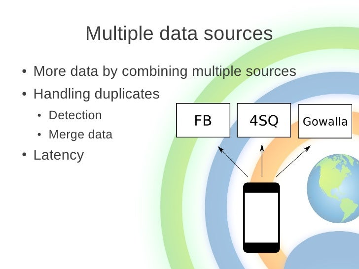 Multiple data sources●   More data by combining multiple sources●   Handling duplicates    ●   Detection    ●   Merge data...