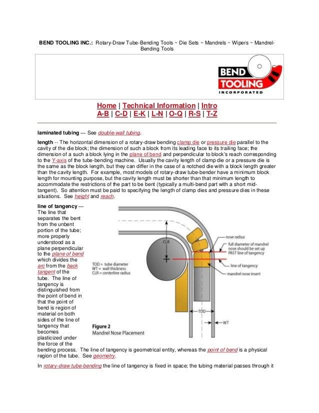 BEND TOOLING INC.: Rotary-Draw Tube-Bending Tools ~ Die Sets ~ Mandrels ~ Wipers ~ Mandrel-                               ...
